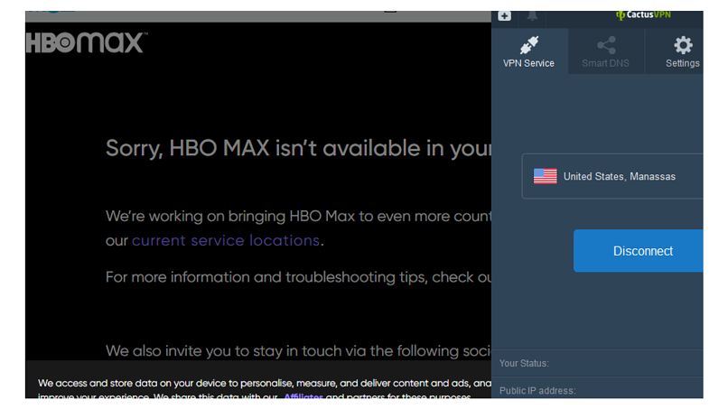 A screenshot of error message from HBO Max