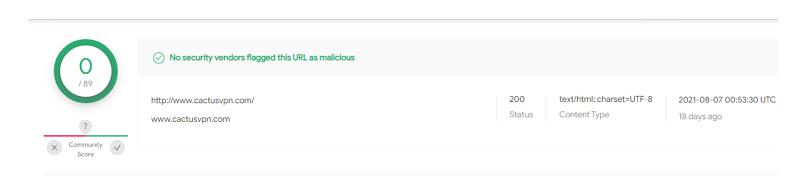 A screenshot of CactusVPN results on VirusTotal