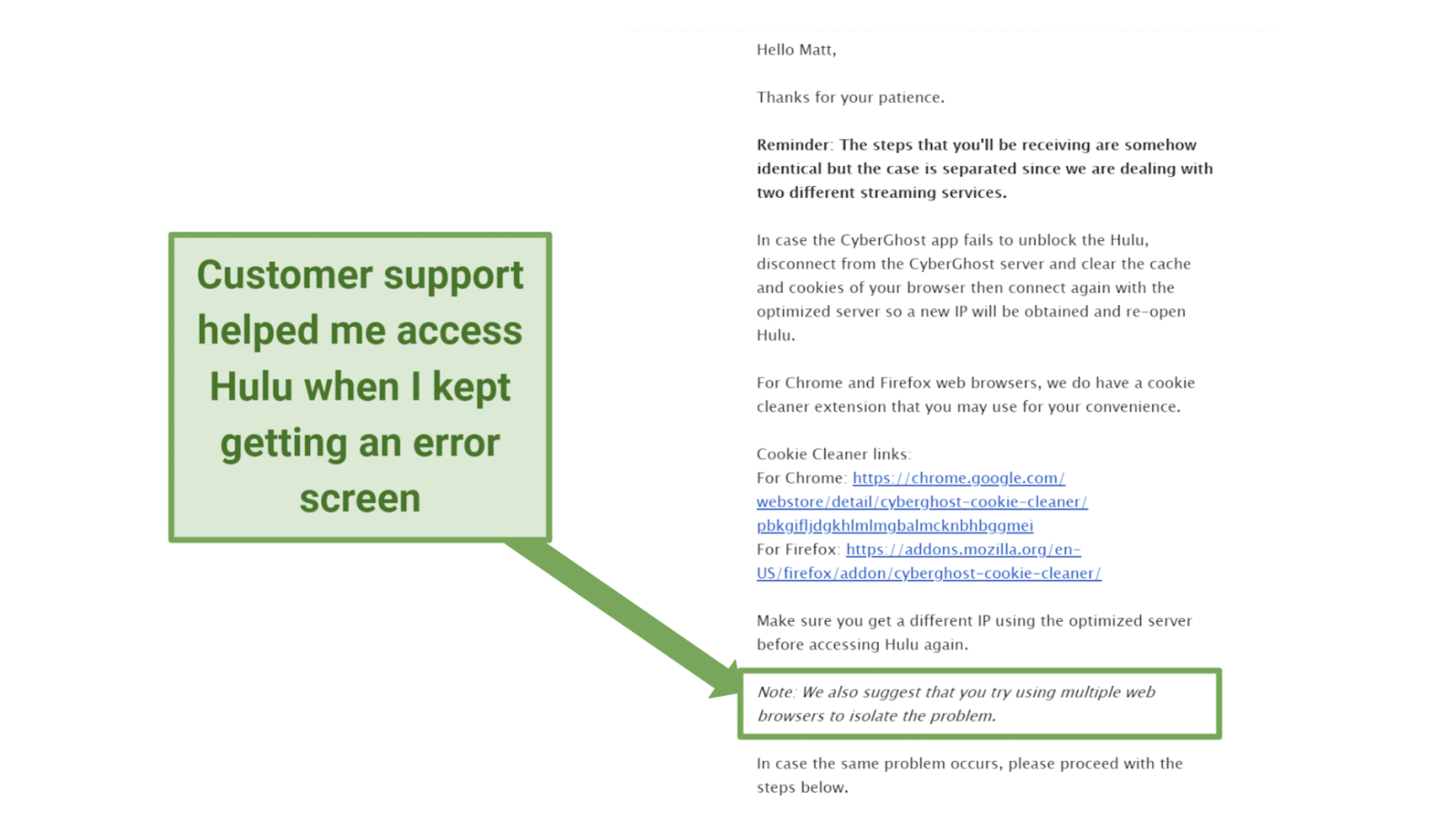 Screenshot of an email sent to me by the CyberGhost support staff troubleshooting problems connecting to Hulu.