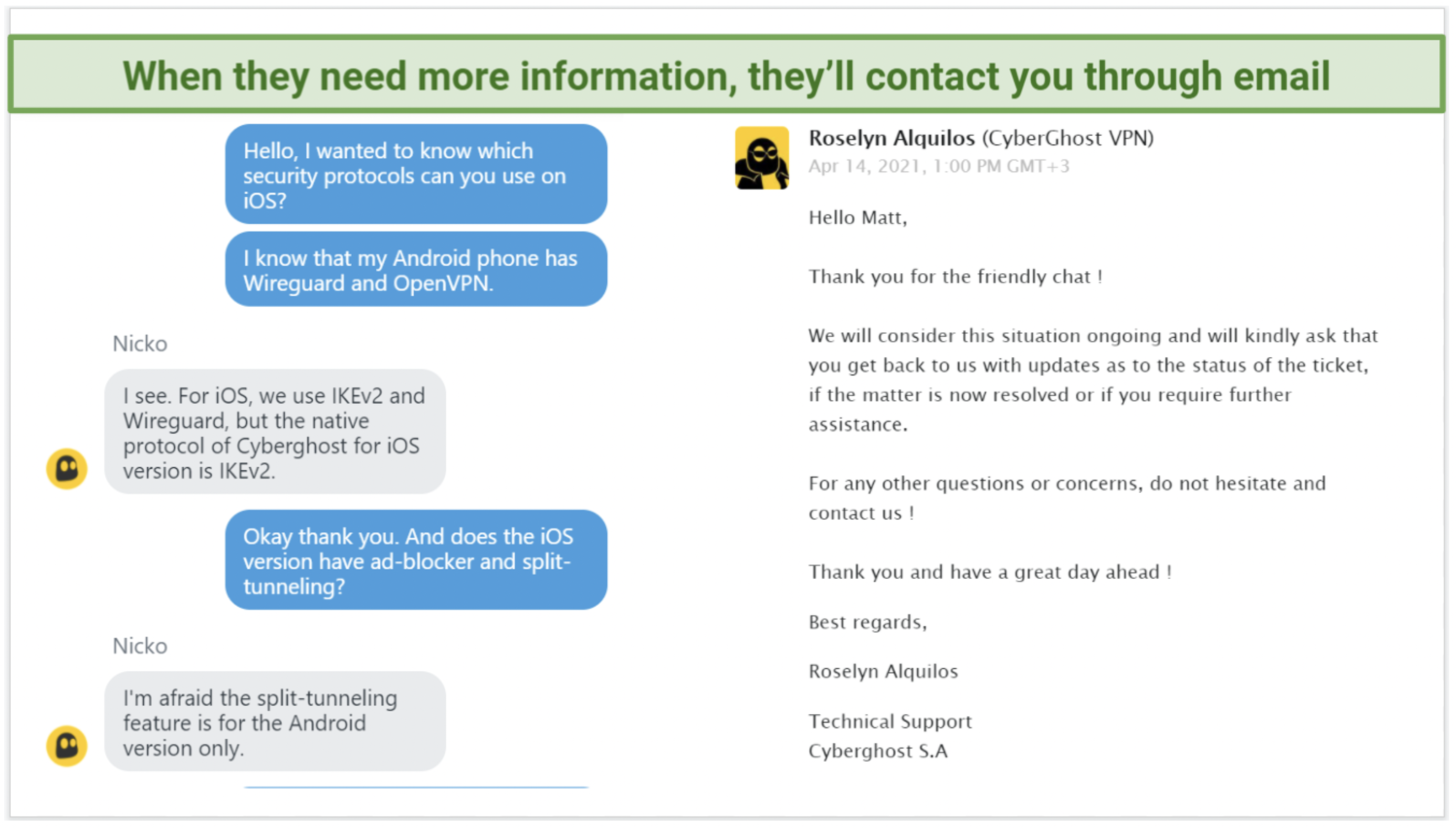 Screenshot of CyberGhost live chat and emails.