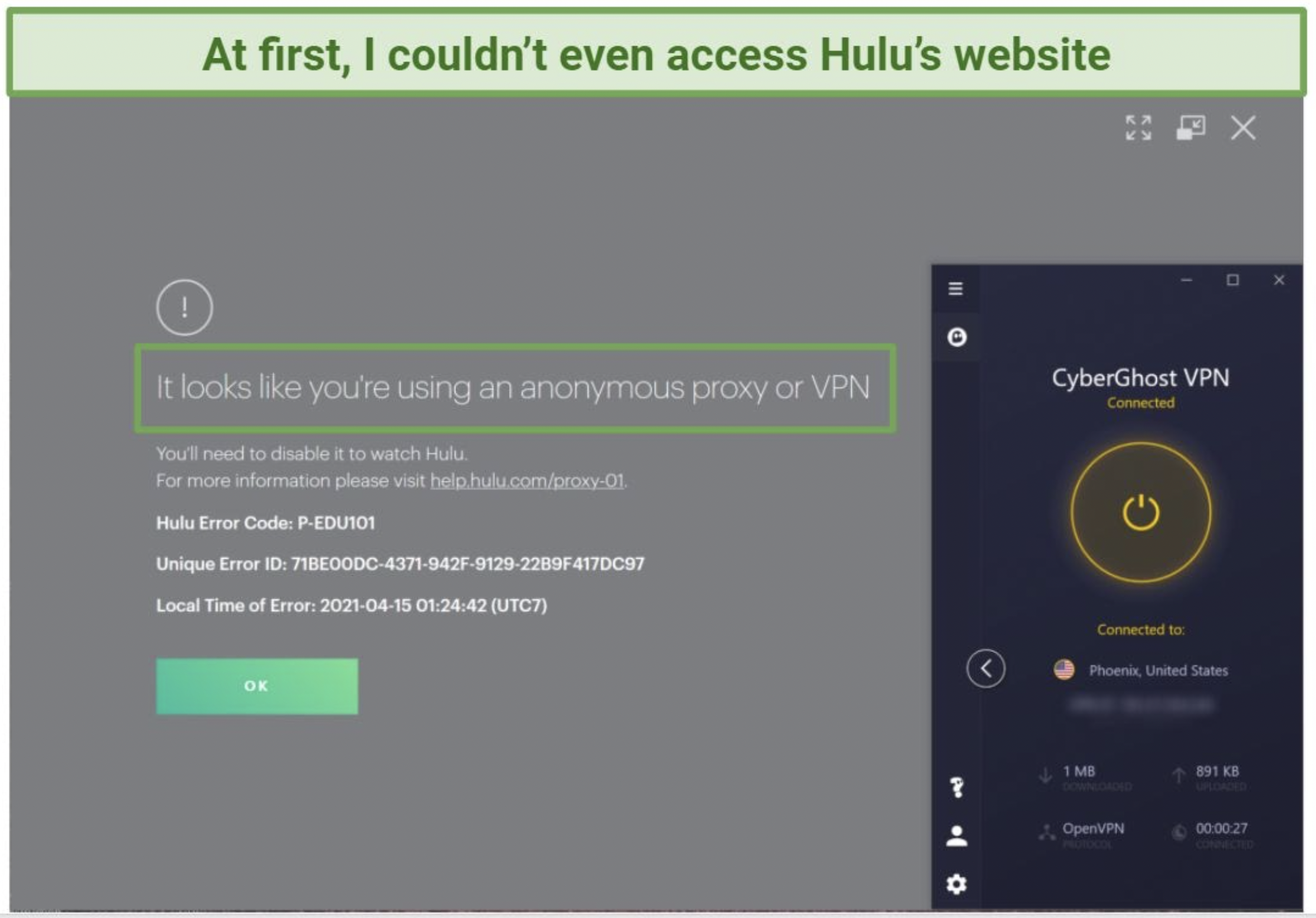 Screenshot of error screen when trying to access Hulu with CyberGhost.