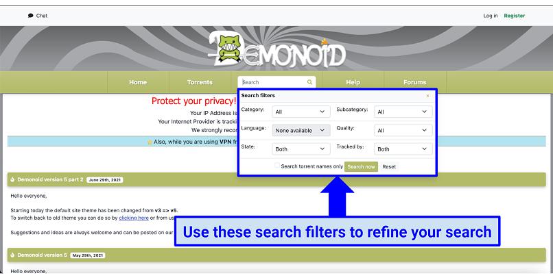 Graphic showing Demonoid homepage