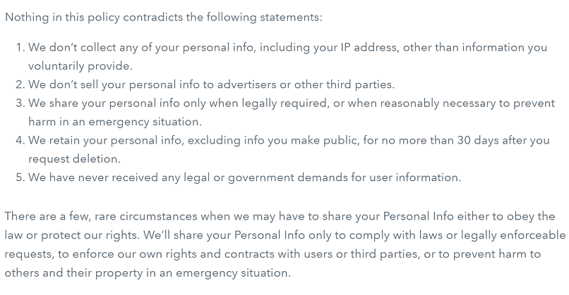 A screenshot of Disconnect VPN's privacy policy