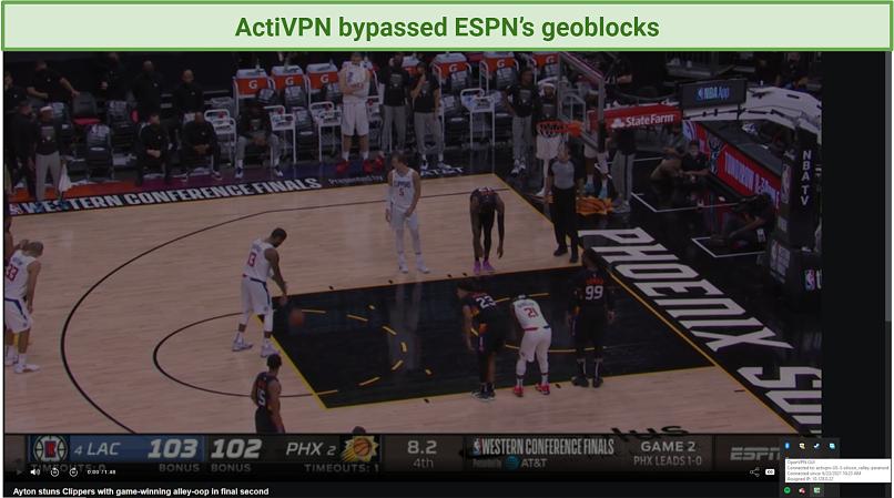 screenshot o ESPN player unblocked by ActiVPN