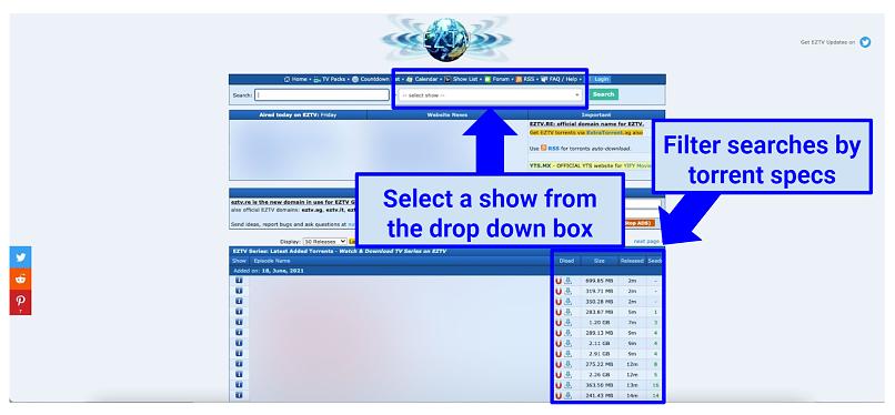 Graphic showing EZTV homepage