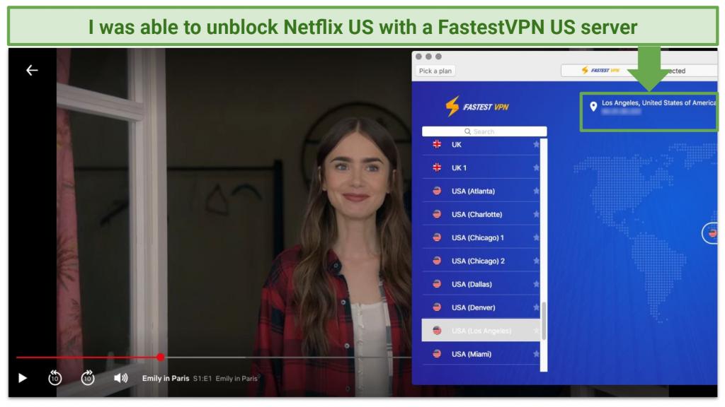 Screenshot of FastestVPN unblocking Netflix US.
