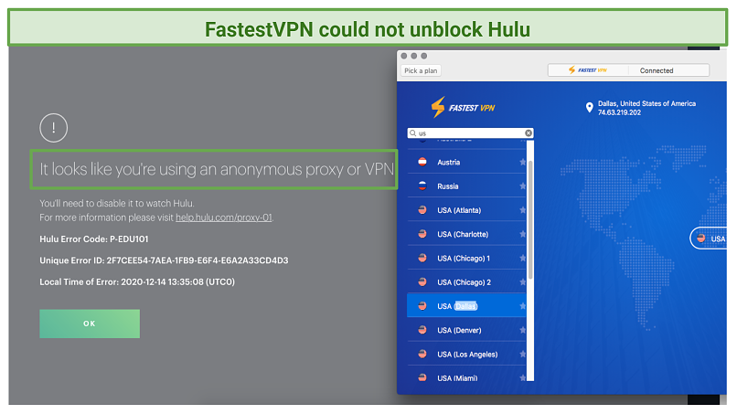 A screenshot showing FastestVPN being blocked by Hulu's anti-proxy and VPN software