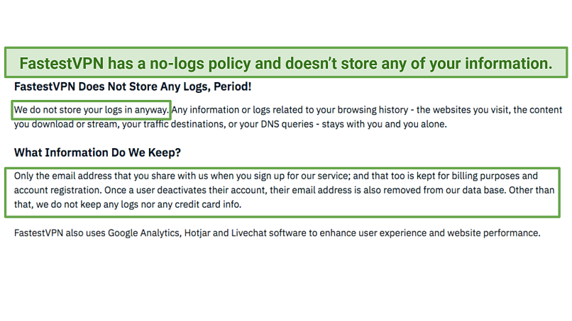 A screenshot of FastestVPN's privacy policy, with its no log guarantee highlighted.