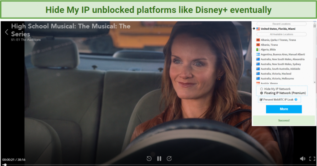 Screenshot showing Disneyplus streaming after connecting to a Hide My IP server in the US