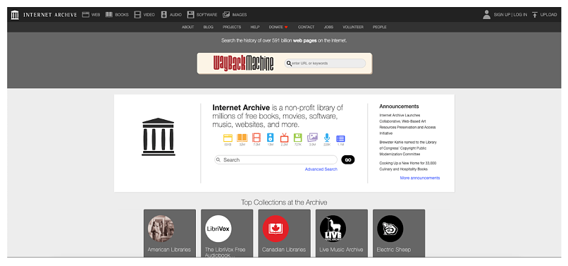 Screenshot showing torrent site Internet Archive homepage