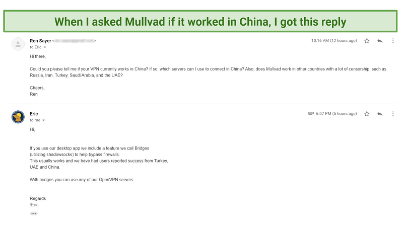 Graphic showing Mullvad email about China