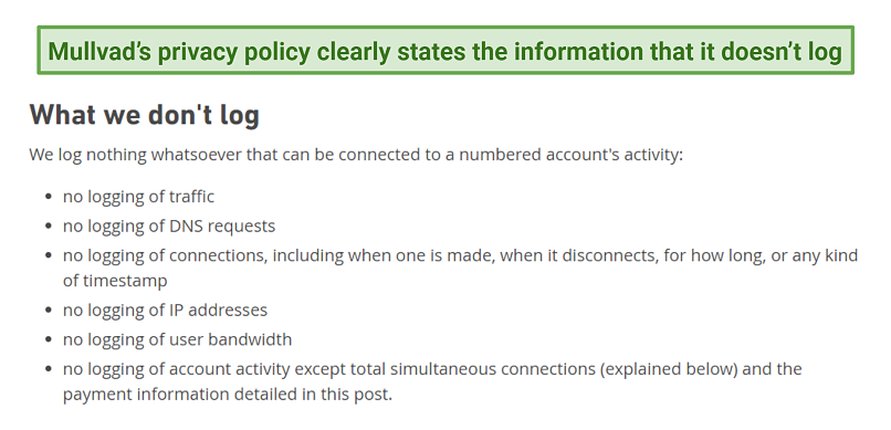 Graphic showing Mullvad no-logs policy