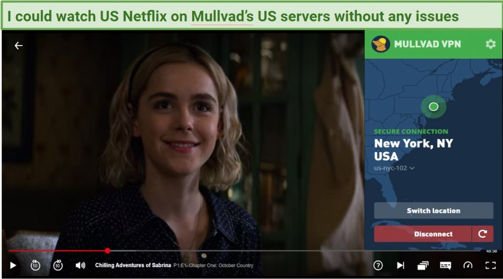 Graphic showing US Netflix on Mullvad VPN