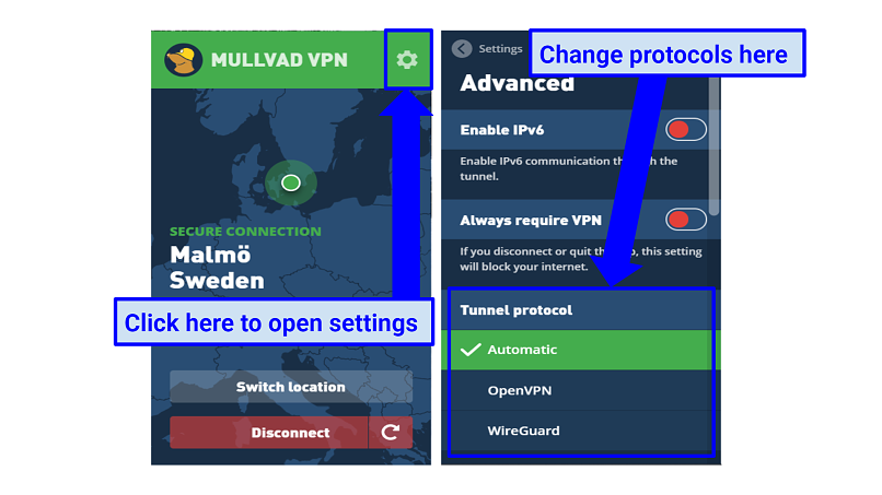 Graphic showing Mullvad settings