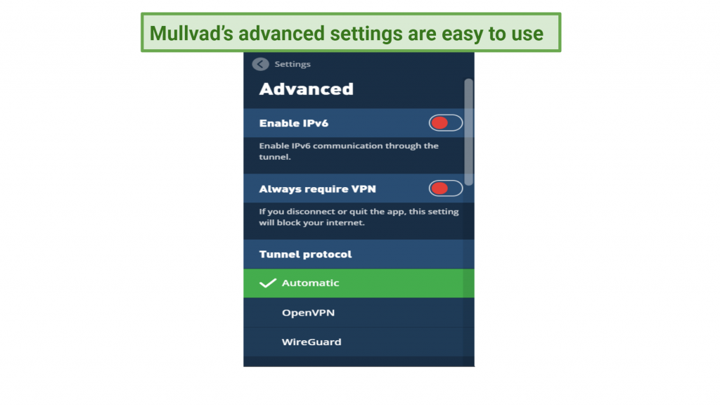 Graphic showing advanced settings