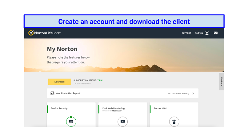 Graphic showing Norton account page