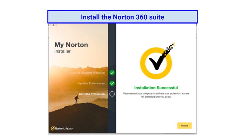 Graphich showing Norton Installaion