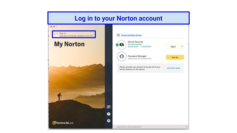 Graphic showing Norton login