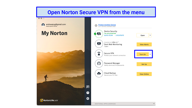 Graphic showing Norton Secure menu