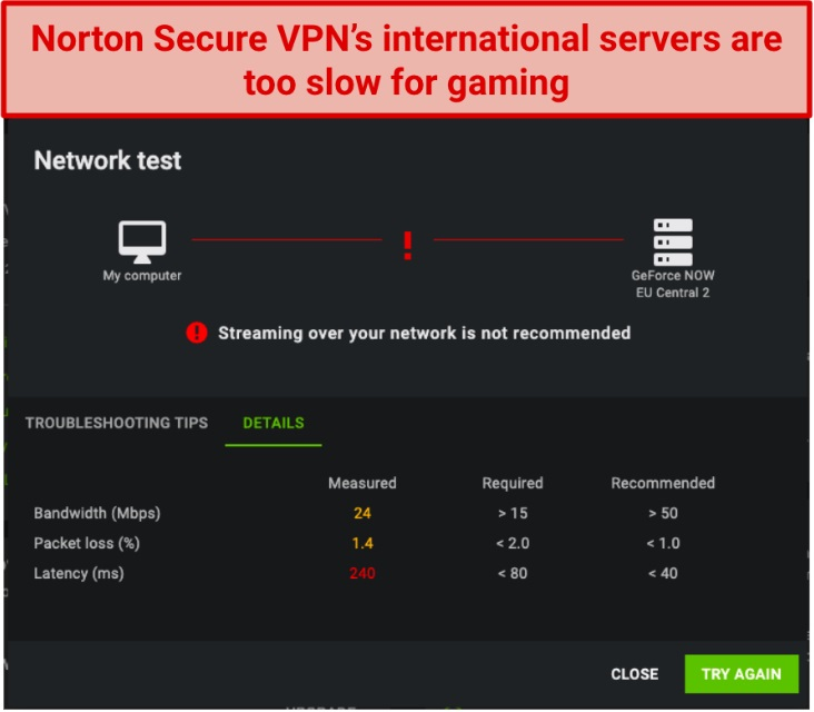 Screenshot showing Norton Secure VPN is too slow for gaming