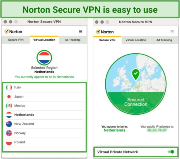 Screenshot showing Norton Secure VPN user interface on Mac