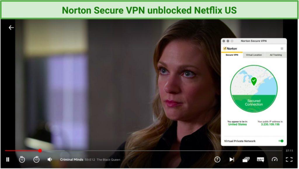 Screenshot showing Norton Secure VPN unblocks Netflix US
