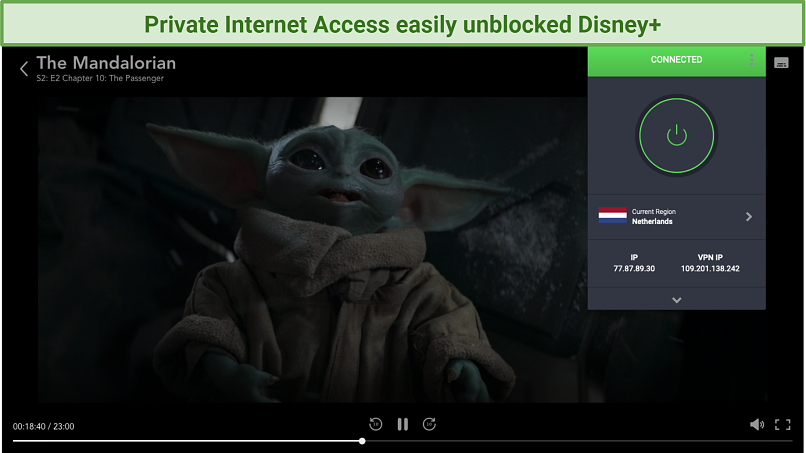 Screenshot of Disney Plus player and Private Internet Access UI