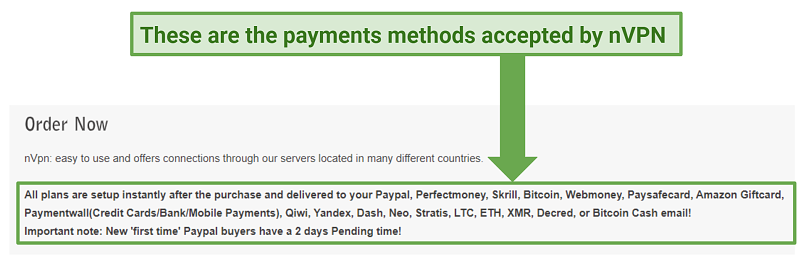 Graphic showing payment options nVPN
