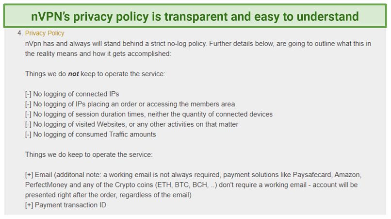 Graphic showing privacy policy of nVPN