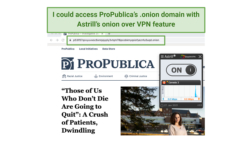 Graphic showing Propublica with Astrill
