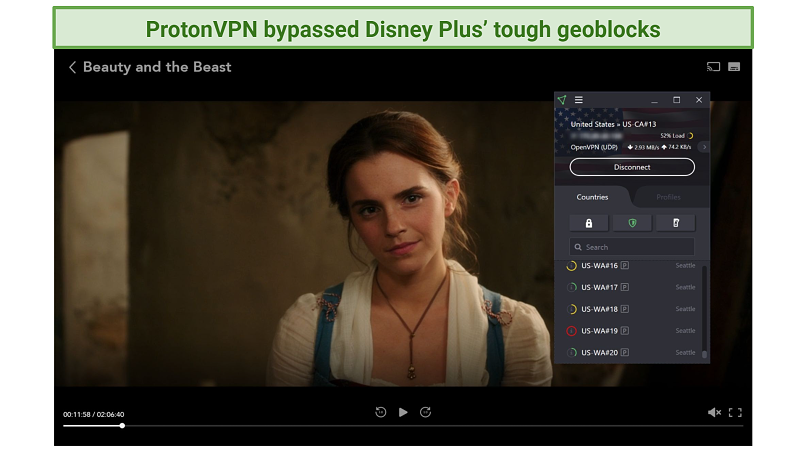 Screenshot of Disney+ player streaming Beauty and the Beast unblocked with ProtonVPN