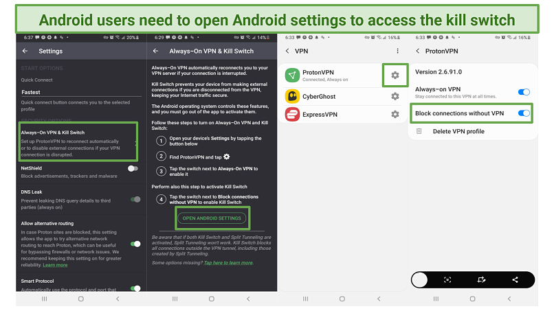 Screenshots of ProtonVPN settings and Android settings needed to turn on kill switch