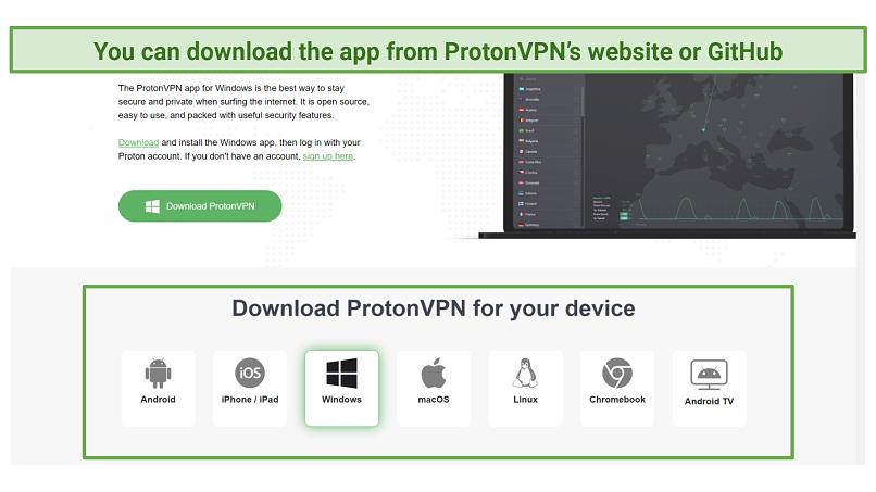 Screenshot of ProtonVPN's website showing download page