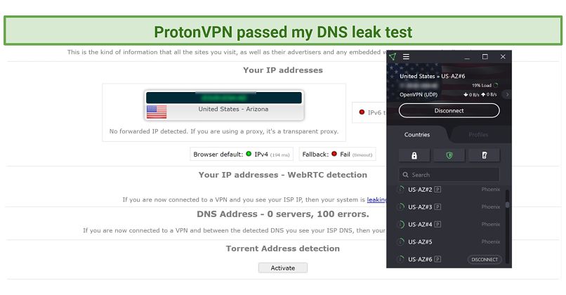 Screenshot of ProtonVPN connected to the AZ#6 server during a test on ipleaknet