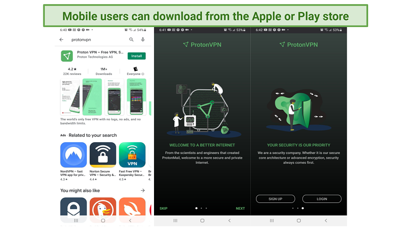 Screenshot of ProtonVPN installation process on Android with Play Store and App UI