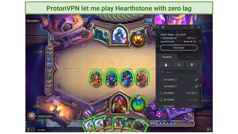 Screenshot of an online Hearthstone match played while connected to ProtonVPN