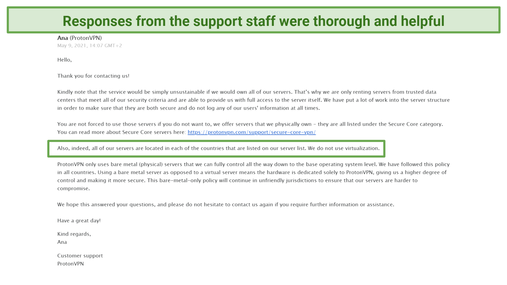 Screenshot of Email received from support answering questions about rented servers and virtual locations