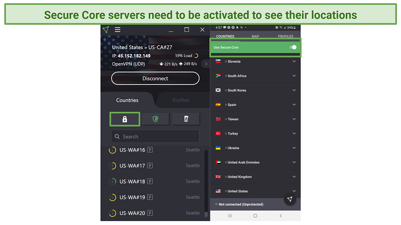Screenshot of ProtonVPN UI on Android and Windows Desktop showing where to activate Secure Core Servers