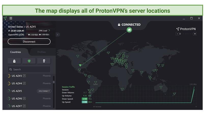Screenshot of ProtonVPN UI, showing its map and server list