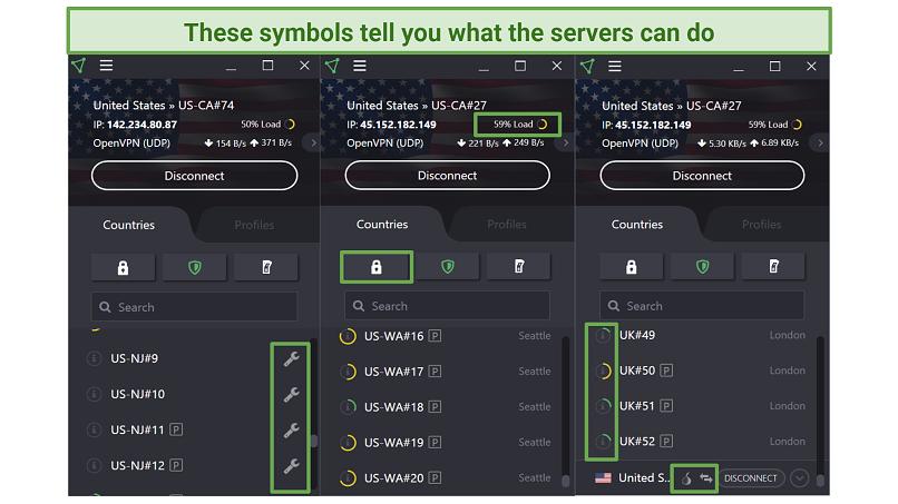 Screenshot of ProtonVPN app's Secure Core, TOR, Plus, and Maintenance symbols