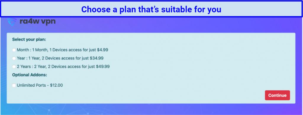 screenshot of RA4W's plan selection page