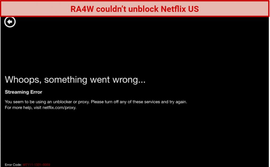 screenshot of Netflix's VPN detection message