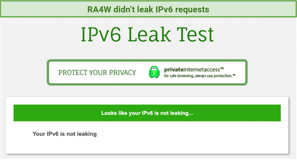 screenshot of RA4W's IPv6 leak test