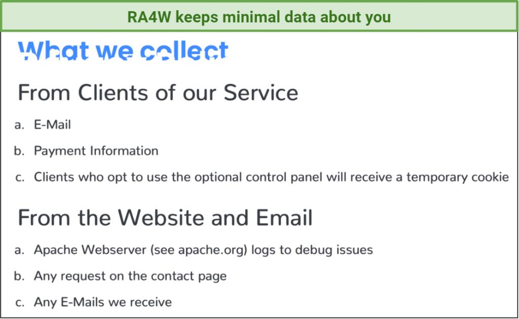 screenshot of RA4W's data logging policy