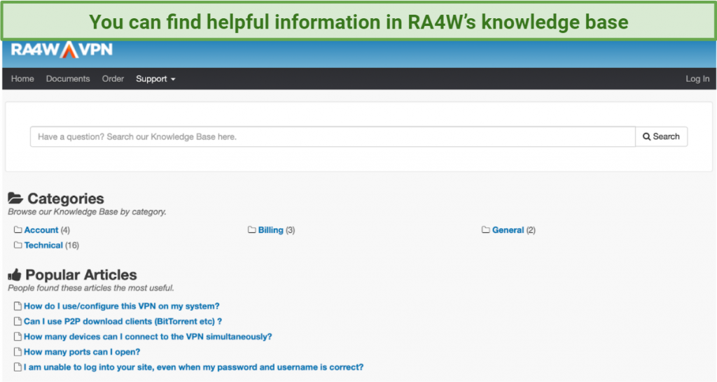 screenshot of RA4W's knowledge base