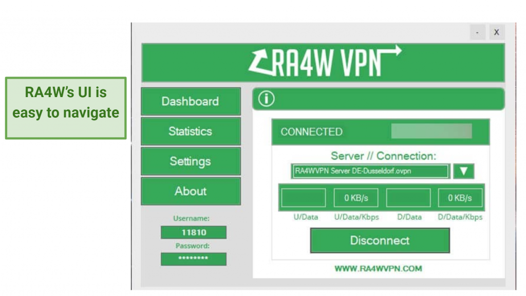 screenshot of RA4W's UI