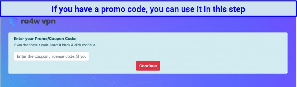 screenshot of RA4W's coupon page