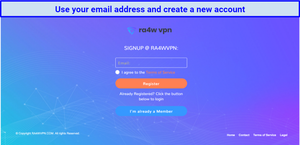 screenshot of RA4W's sign-up page