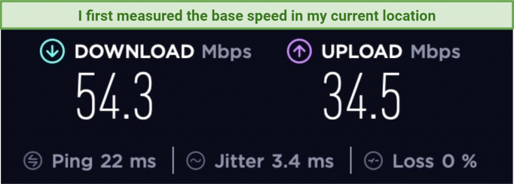 screenshot of speed test results without a VPN