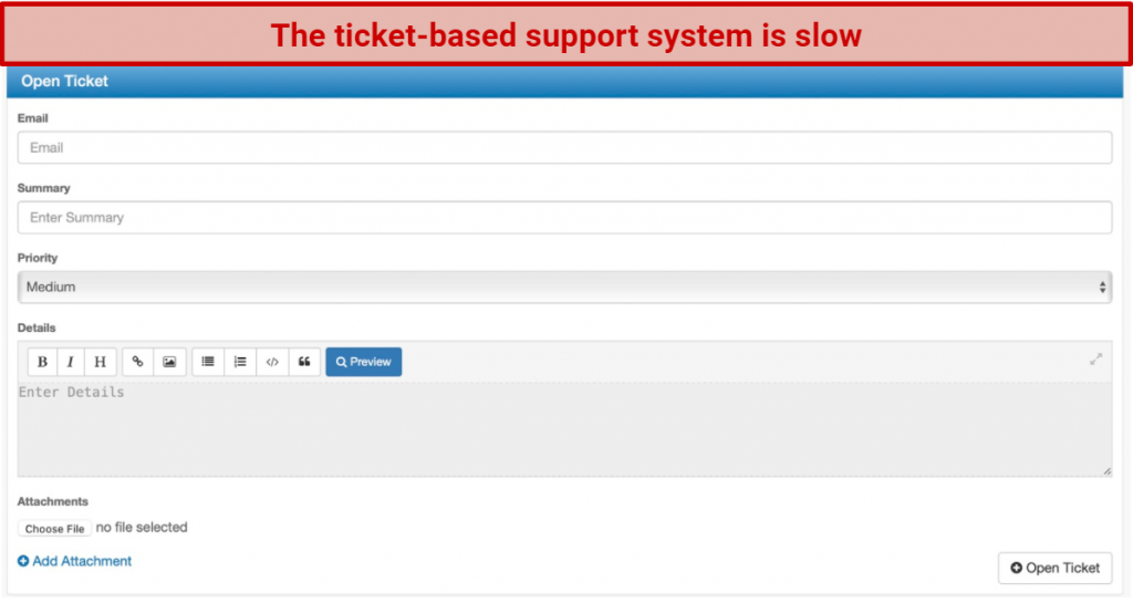 screenshot of RA4W's ticket-based support system